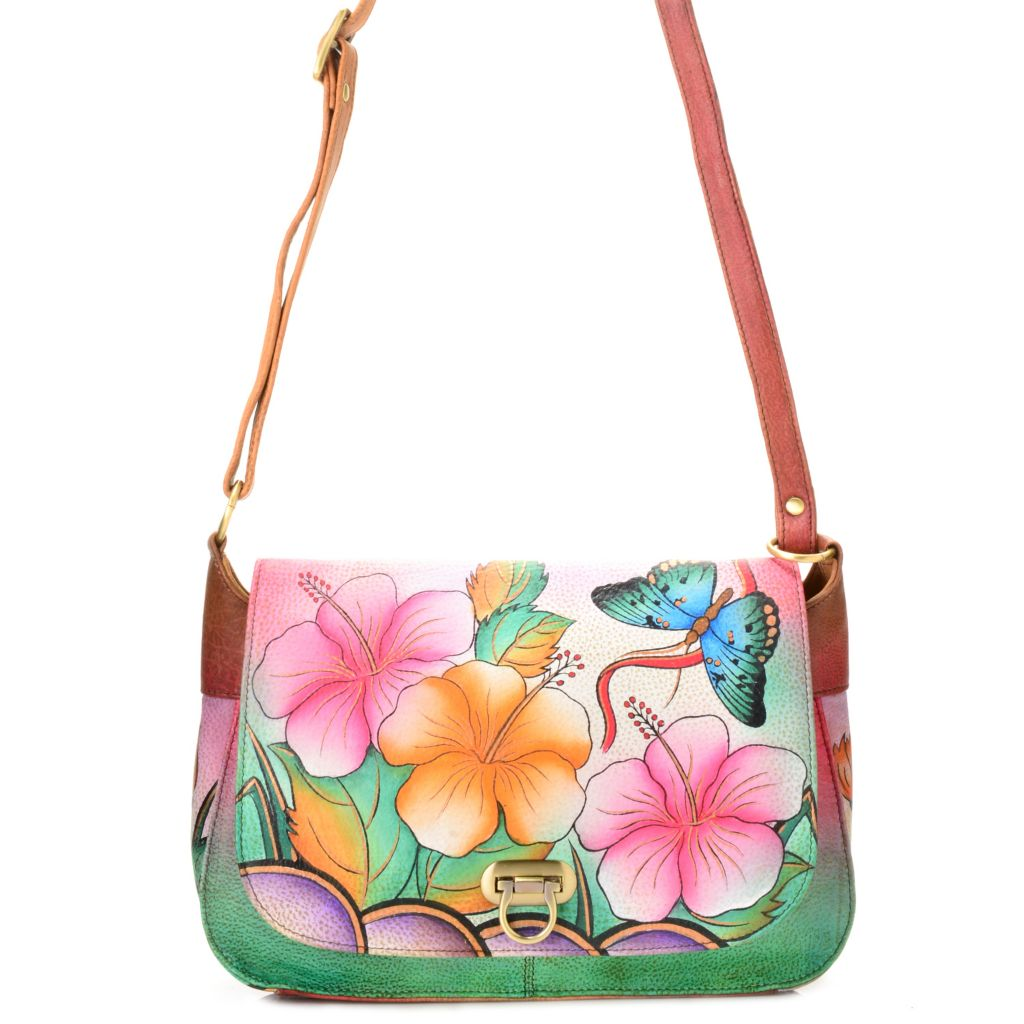718-422 - Anuschka Hand-Painted Leather Flap-over Cross Body Bag
