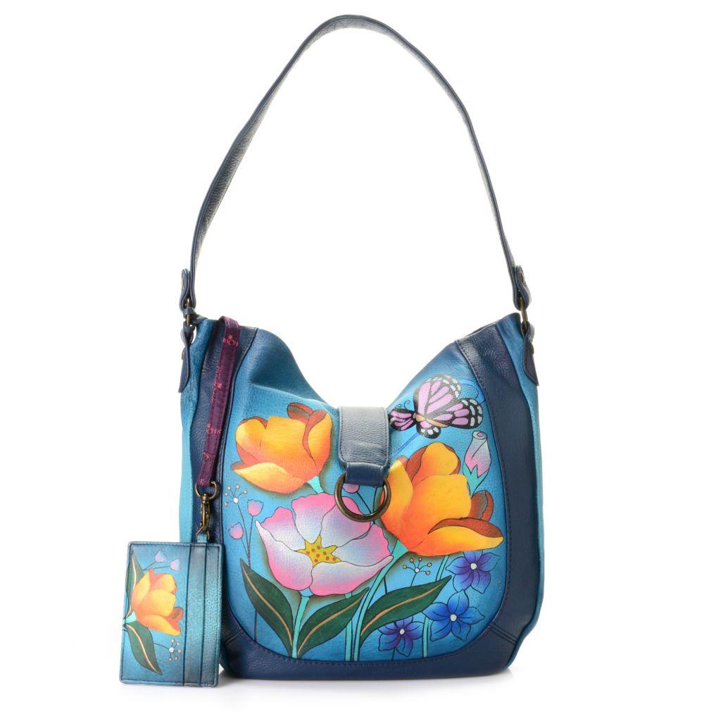 718-424 - Anuschka Hand-Painted Leather Shoulder Bag w/ Credit Card Case