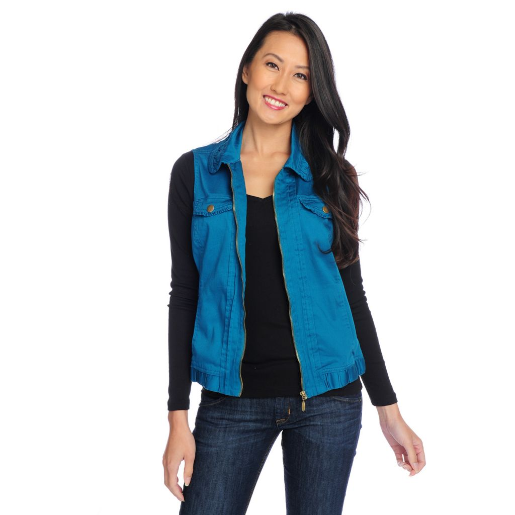 718-426 - OSO Casuals Stretch Cotton Ruched Collar Pintuck Detailed Zip Front Vest