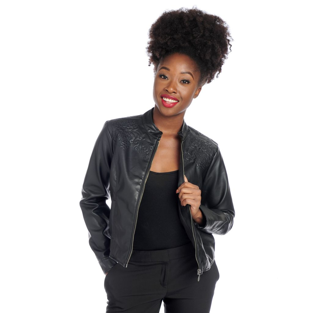 718-428 - Gramercy 22™ Faux Leather Stand Collar Embroidered Zip Front Jacket