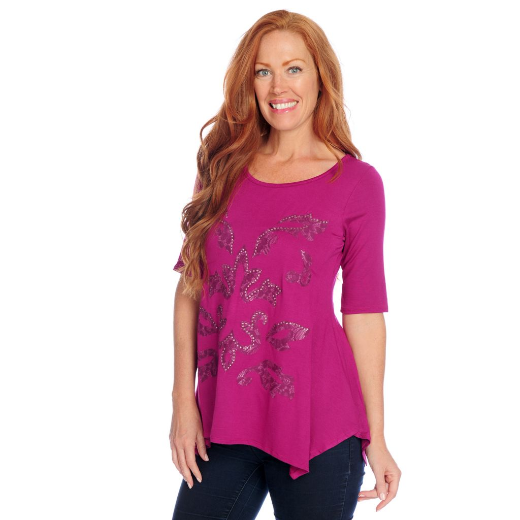 718-430 - Glitterscape Stretch Knit Elbow Sleeved Embellished Lace Sharkbite Hem Top