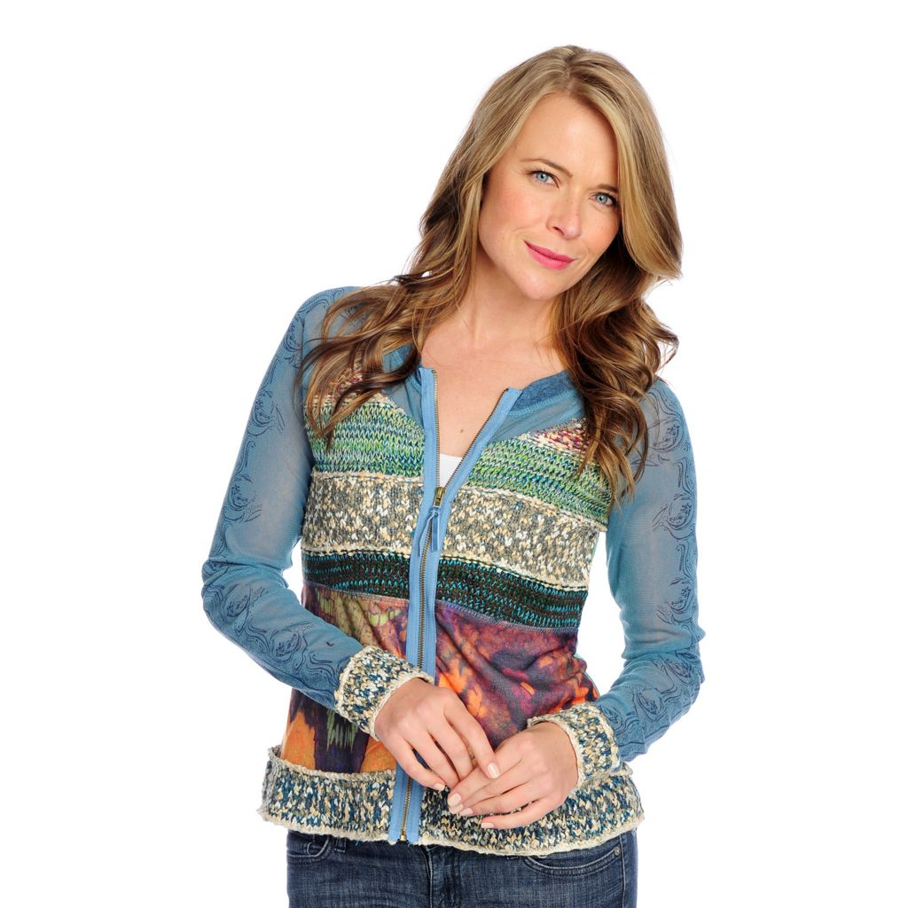 718-441 - OSO Casuals Mixed Media Long Sleeved Zip Front Cardigan