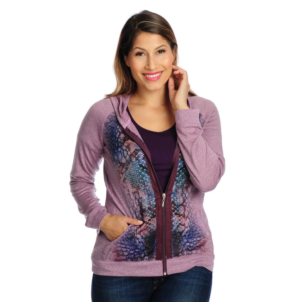 718-444 - One World Animal Print Heathered Knit Faux Suede Trim Zip Hoodie