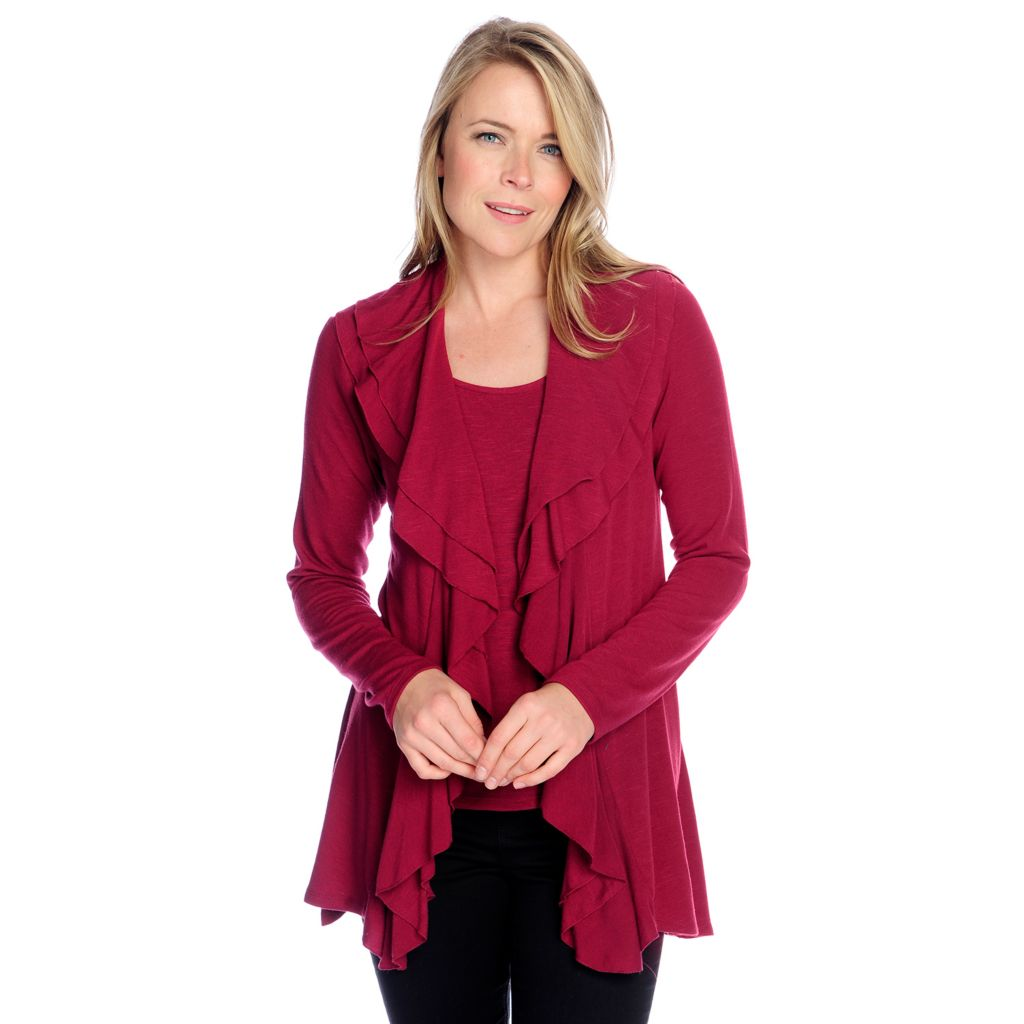 718-460 - Gramercy 22™ Slub Knit Double Ruffle Open Cardigan & Tank Top Set