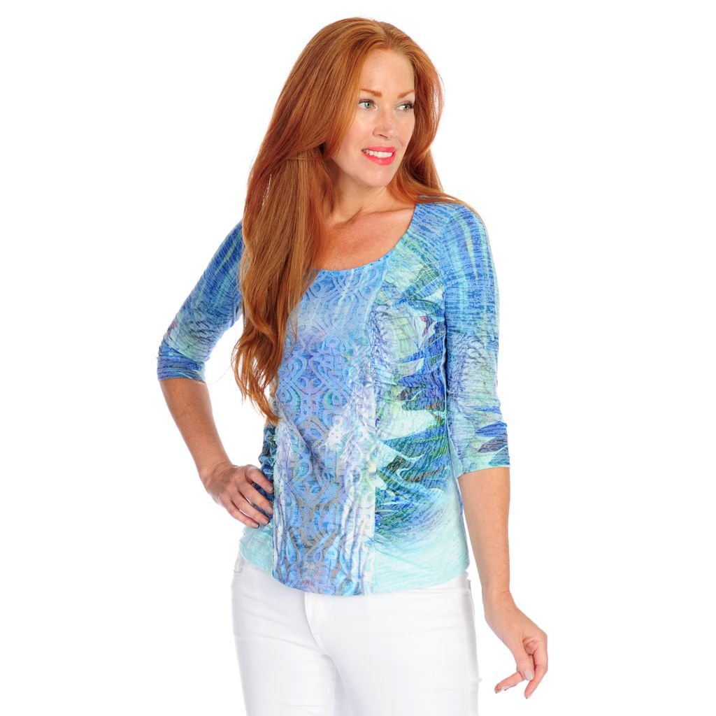 718-490 - One World Burnout Knit 3/4 Sleeved Lace Detail Ruched Top
