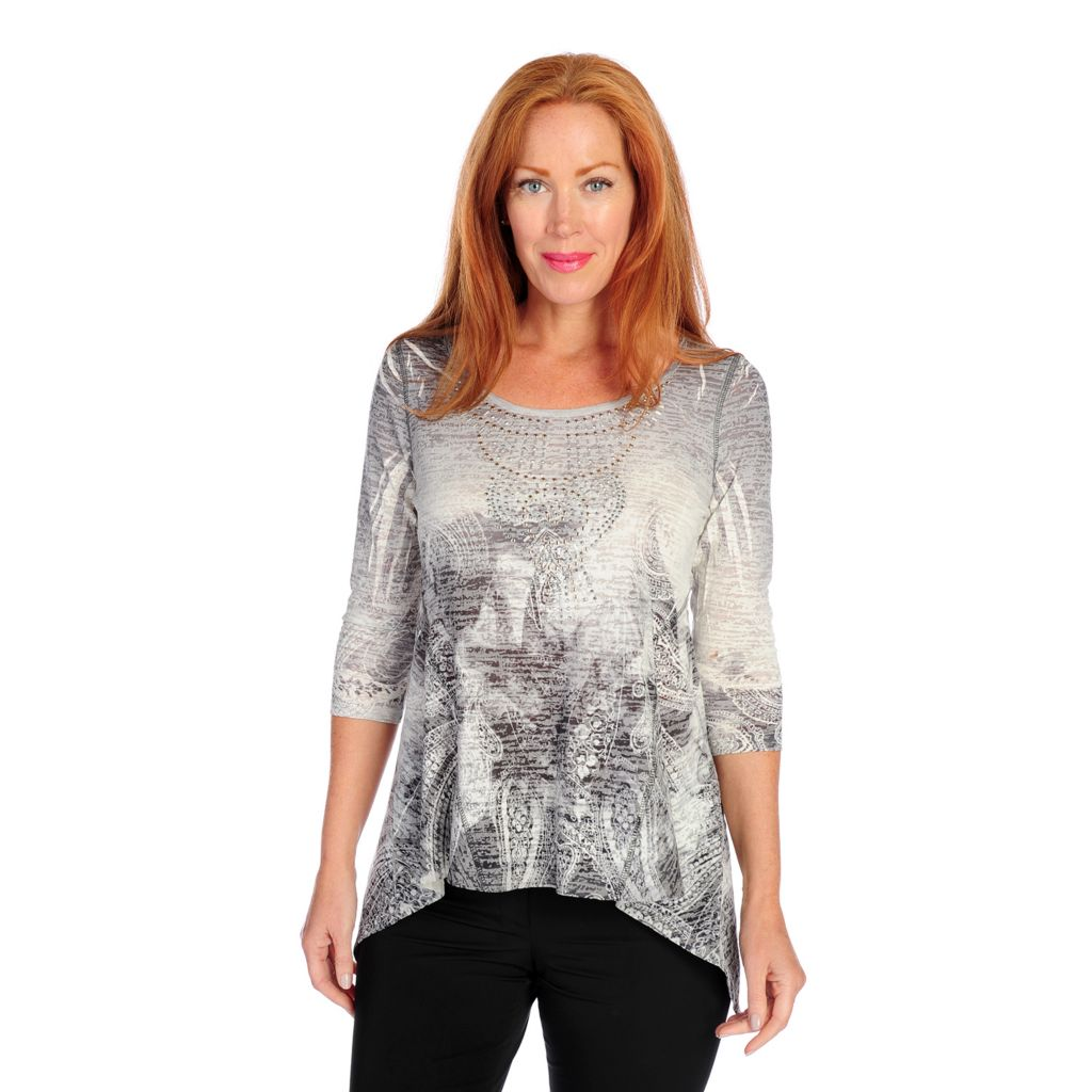 718-491 - One World Burnout Knit 3/4 Sleeved Hi-Lo Sharkbite Scoop Neck Top