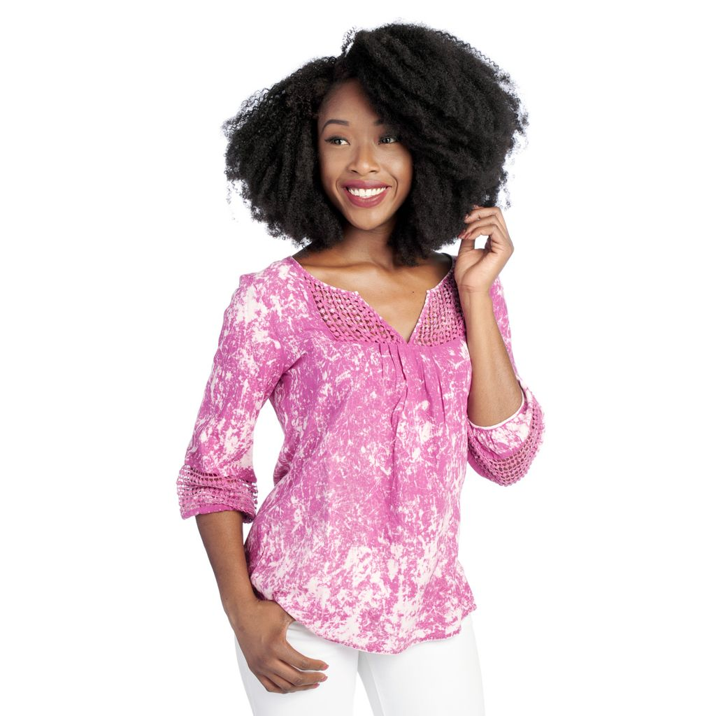 718-492 - One World Woven 3/4 Sleeved Dot Lace Detail Peasant Top