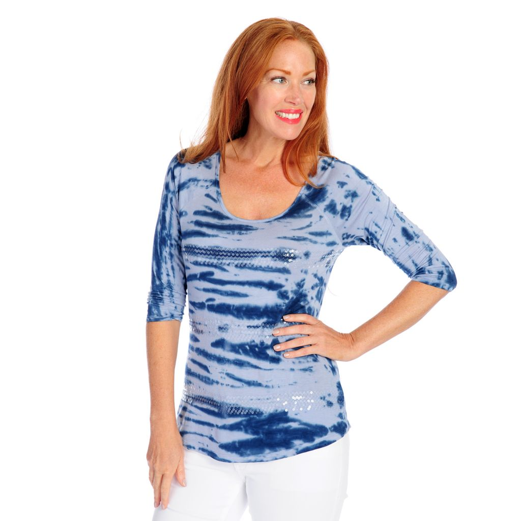 718-493 - One World Tie-Dyed Knit Raglan Sleeved Sequin Striped Scoop Neck Top