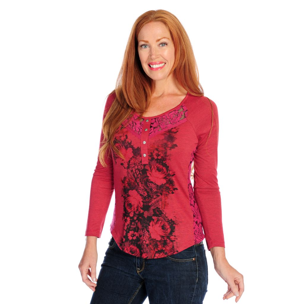 718-494 - One World Marled Knit Raglan Sleeved Lace Accent Henley Top
