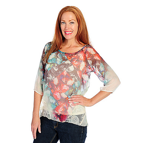 718-495 - One World Mixed Media Raglan Sleeved Printed Overlay Top w/ Knit Tank