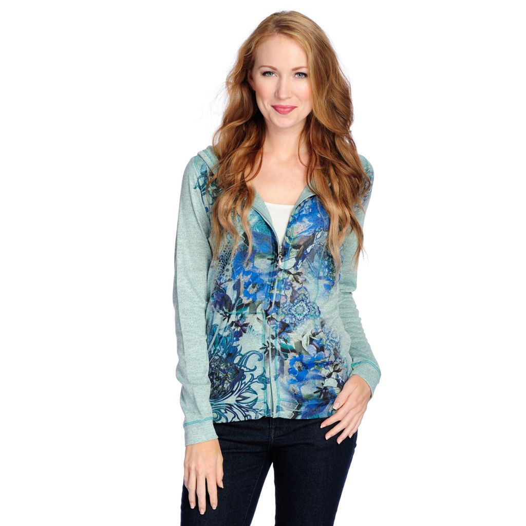 718-496 - One World Heathered Knit Two-Pocket Printed Front Zip-up Hoodie