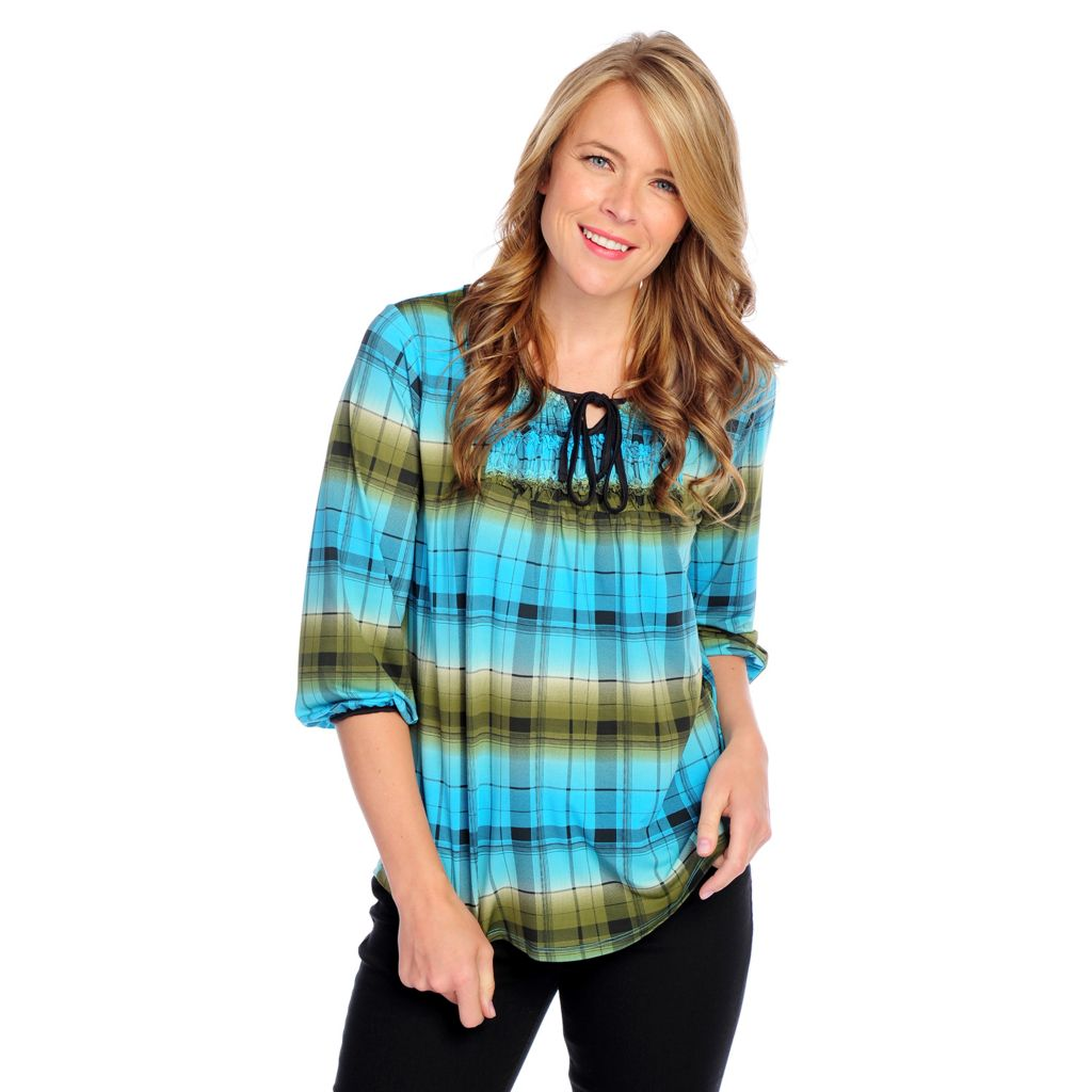 718-499 - One World Printed Knit 3/4 Sleeved Shirred Accent Keyhole Neck Top