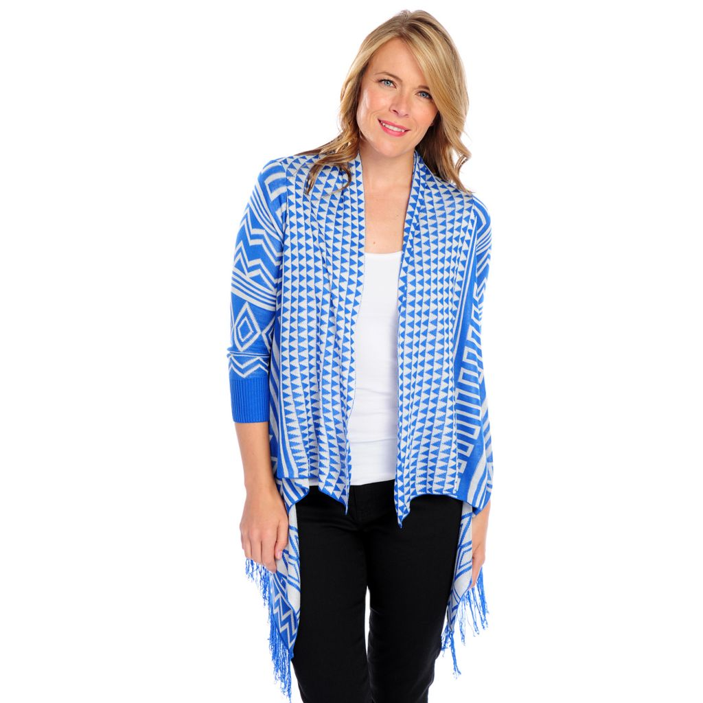 718-500 - One World Fine Gauge Knit 3/4 Sleeved Fringe Hem Open Cardigan