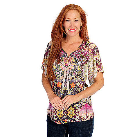 718-501 - One World Printed Knit Kimono Sleeved Bling Accent Notch Neck Top
