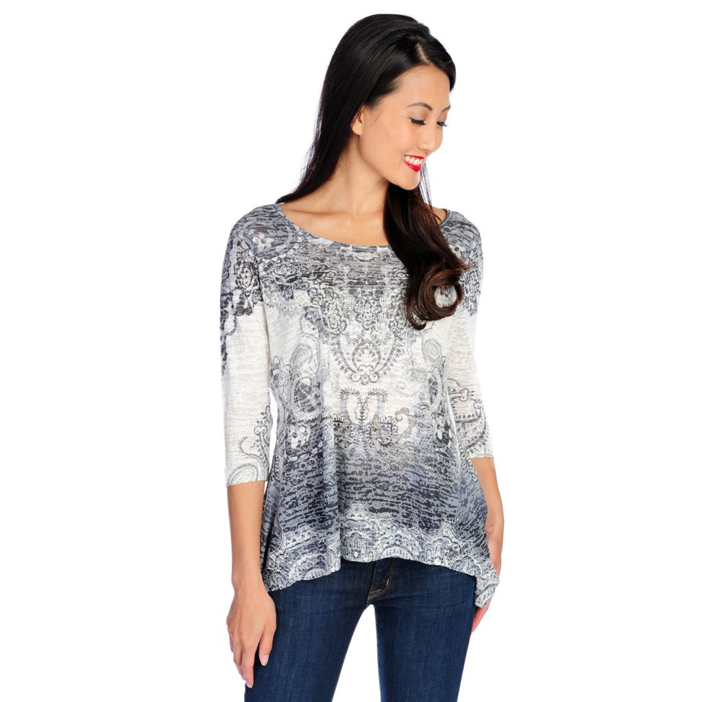 718-502 - One World Burnout Knit 3/4 Sleeved Sharkbite Hem Scoop Neck Top
