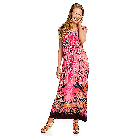 718-503 - One World Micro Jersey Sleeveless V-Neck Maxi Dress