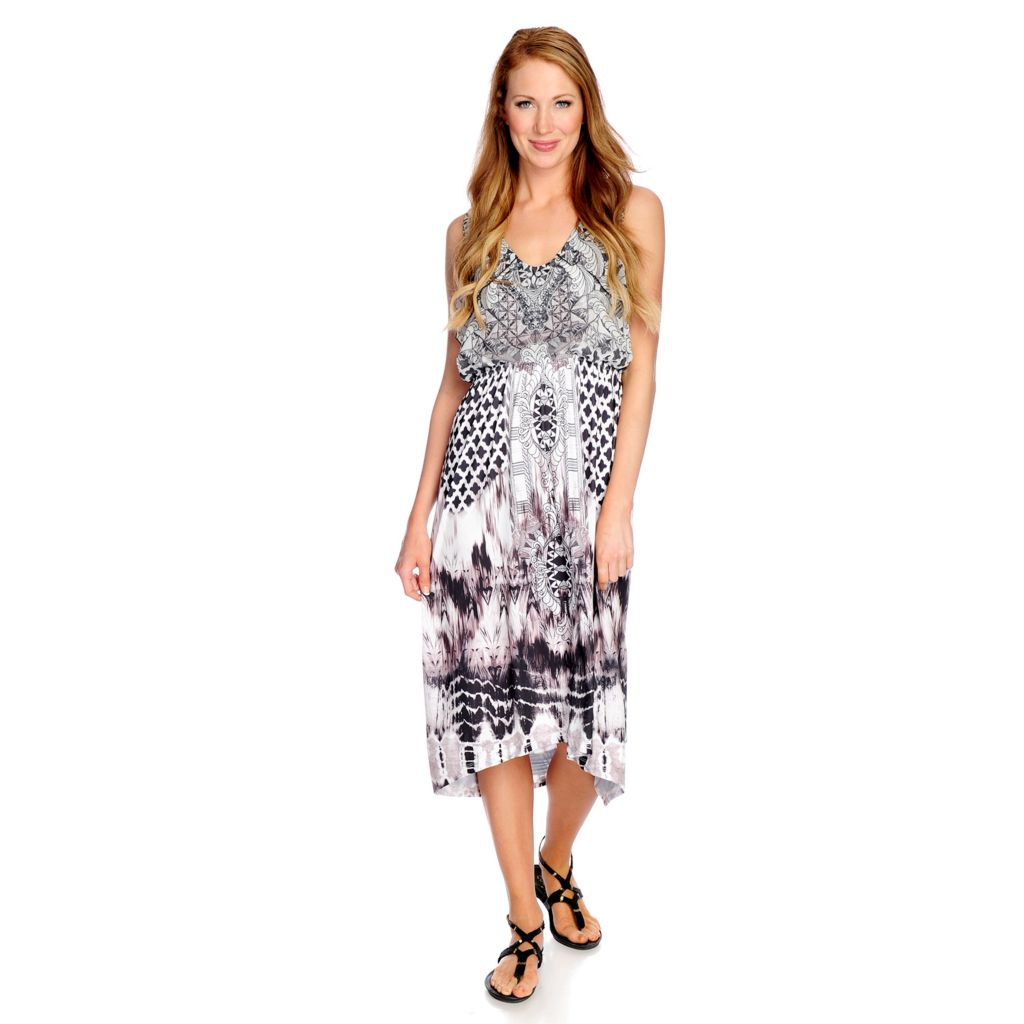 718-504 - One World Mixed Media Sleeveless Blouson Bodice Hi-Lo Dress
