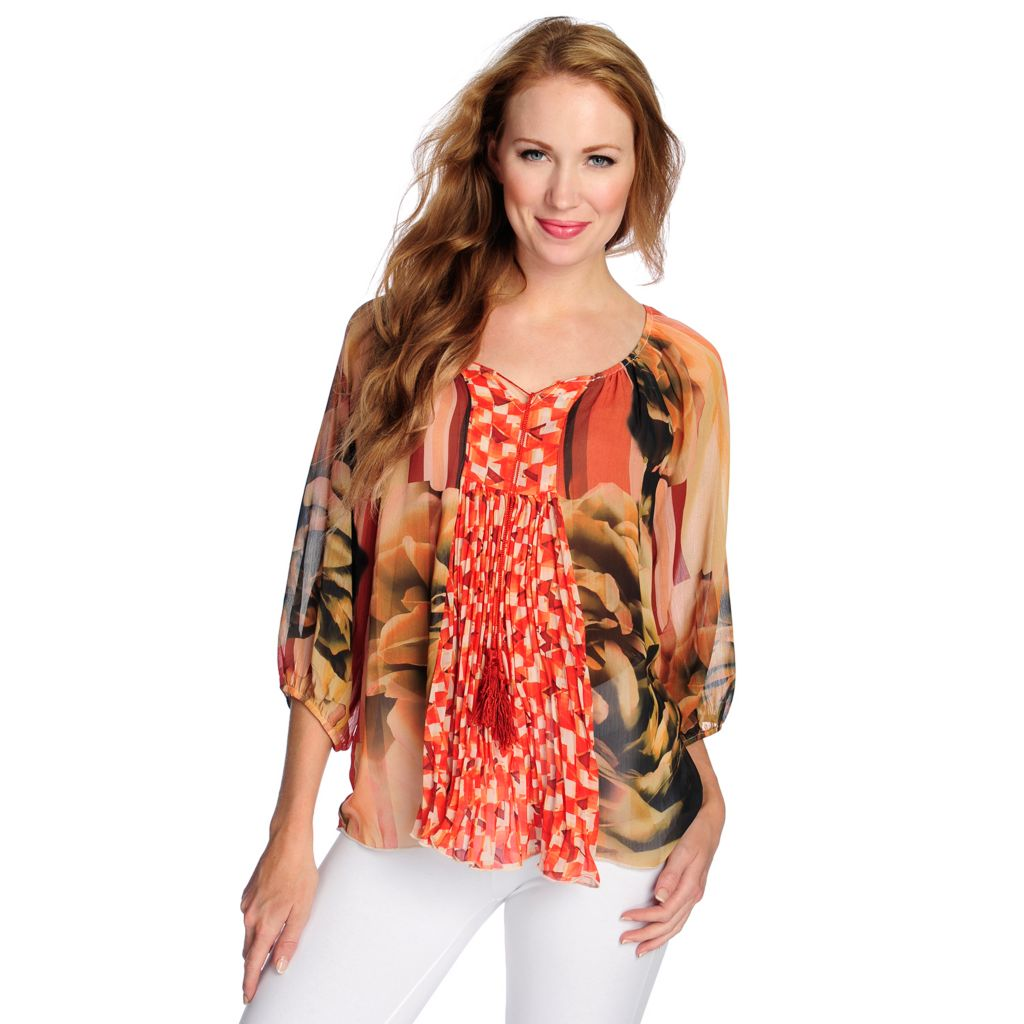 718-506 - One World Printed Woven 3/4 Sleeved Tassel Tie-Neck Peasant Top