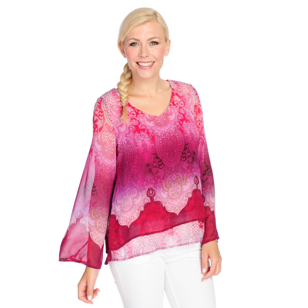 718-507 - One World Print Woven Bell Sleeved Sheer Overlay V-Neck Top