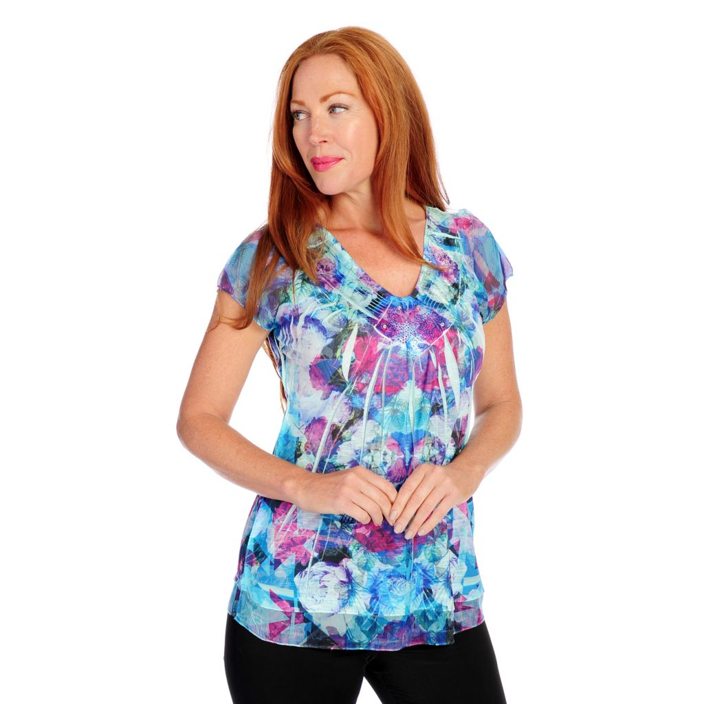 718-508 - One World Mixed Media Short Sleeved Chiffon Trimmed Satin Neck Top