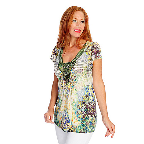 718-509 - One World Micro Jersey Short Sleeved V-Shaped Neck Lace Applique Top