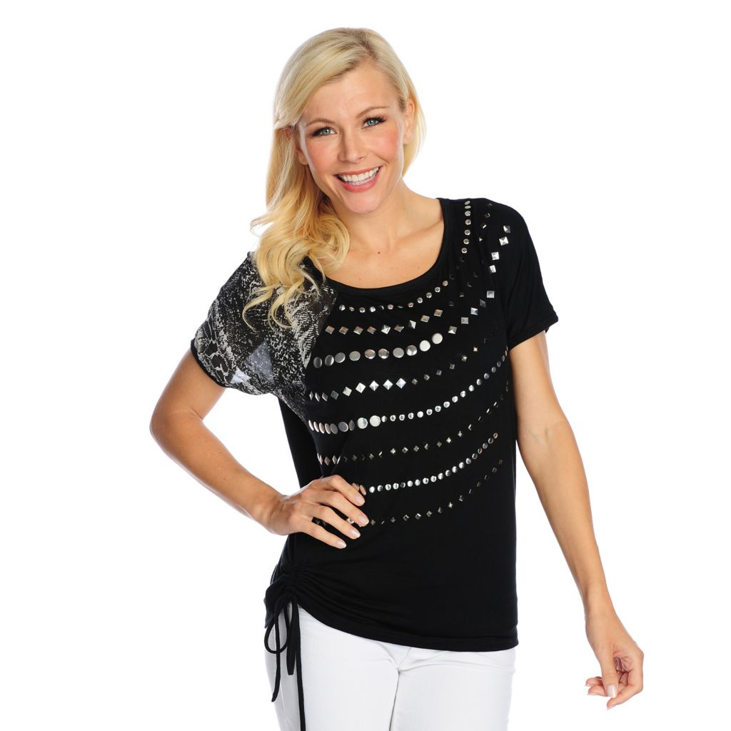 718-520 - Glitterscape Mixed Media Dolman Sleeve Ruched Detail Studded Top