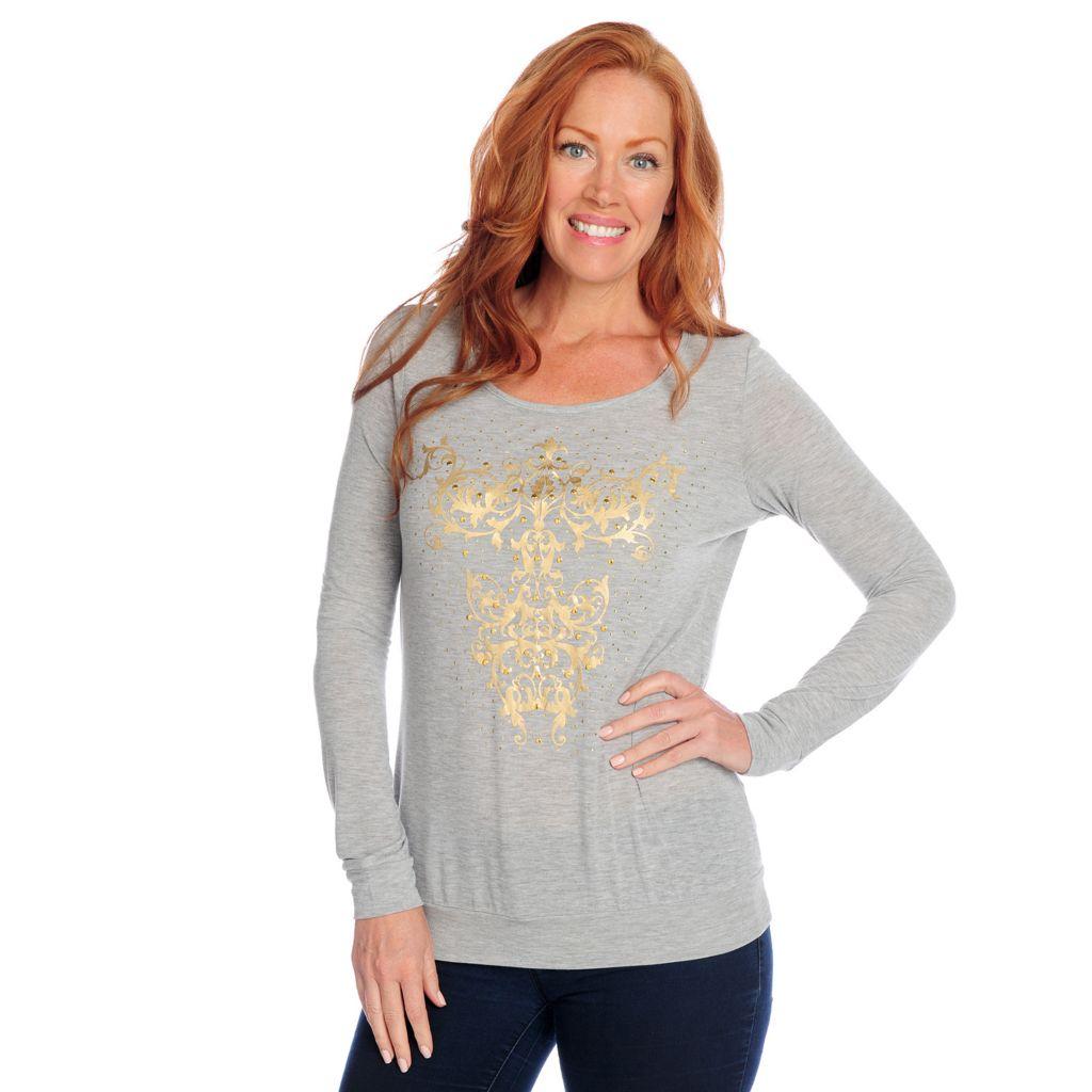 718-521 - Glitterscape Stretch Knit Long Sleeve Foil Printed Embellished Top