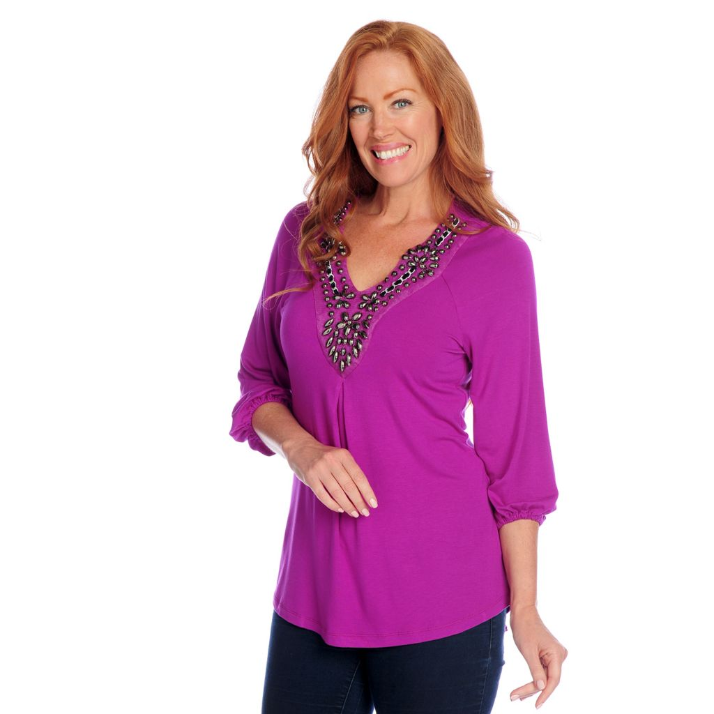 718-522 - Glitterscape Stretch Knit 3/4 Sleeved Embellished V-Neck Lace-up Hi-Lo Top