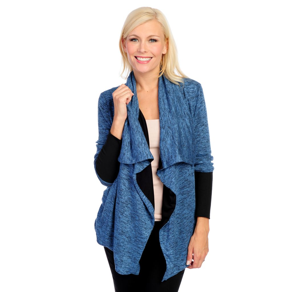 718-524 - One World Marled Knit Long Sleeved Fly Away Open Cardigan