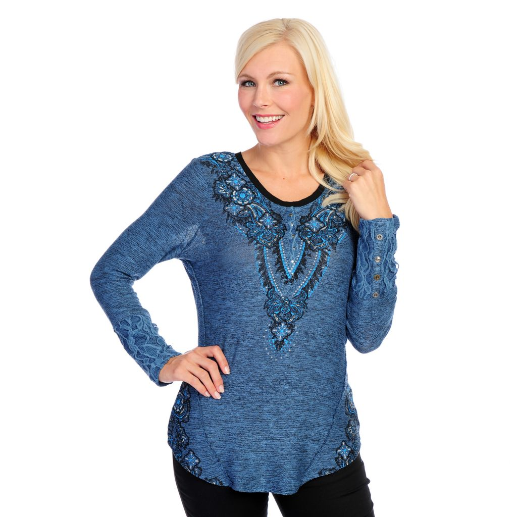 718-529 - One World Mixed Media Short Sleeved Embellished Hi-Lo Top