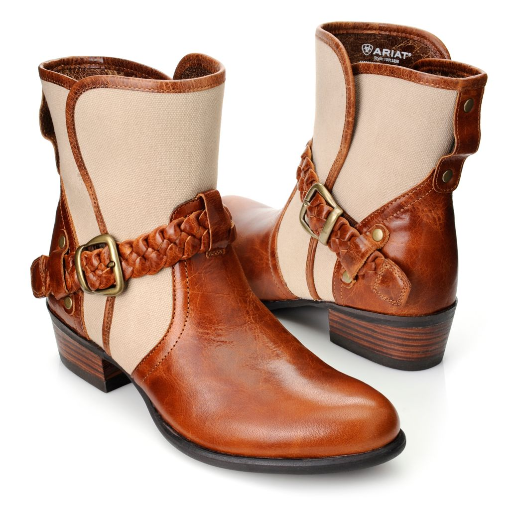 718-530 - Ariat® Women's Full Grain Leather & Canvas Braided Belt & Buckle Detailed Ankle Boots