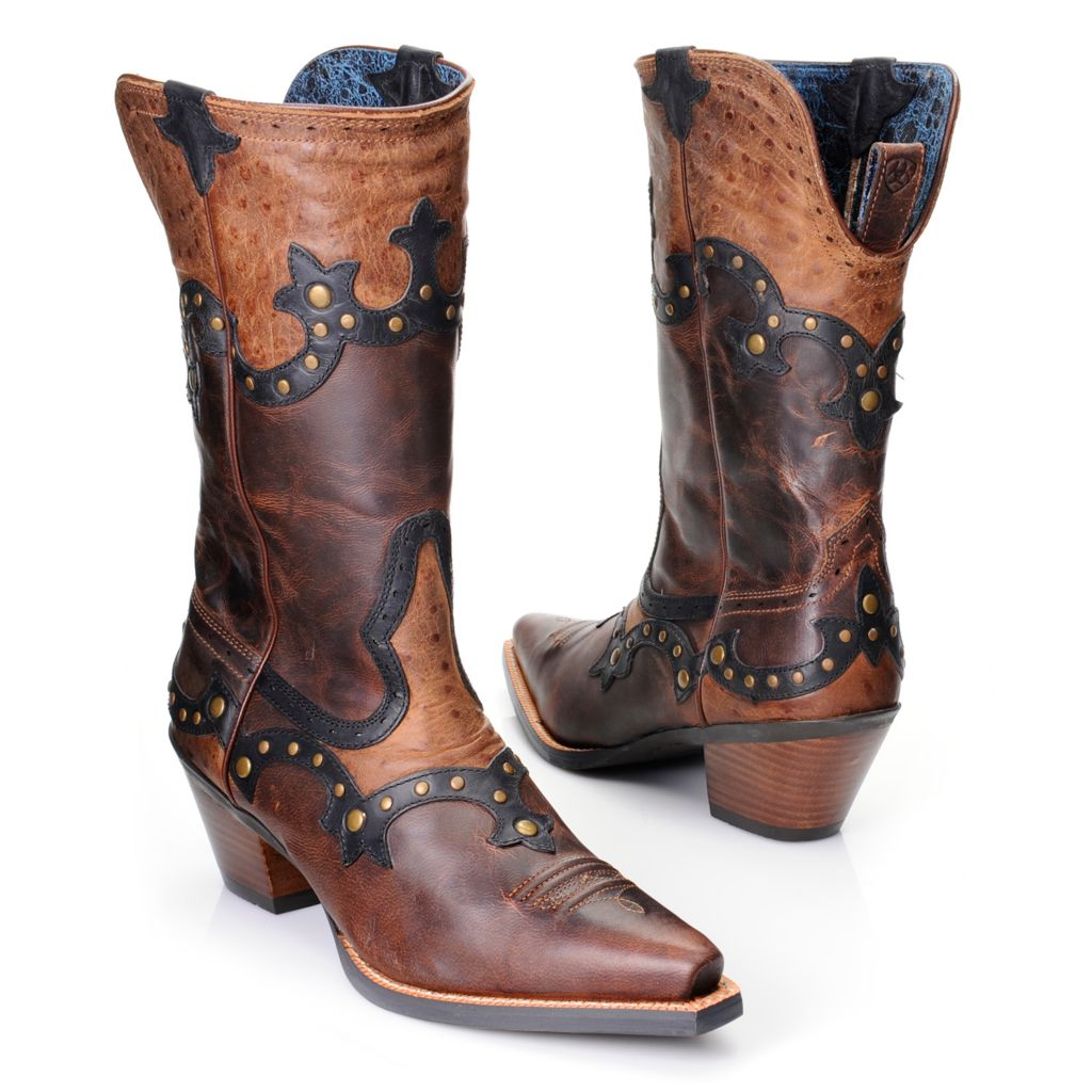 718-531 - Ariat® Women's Ostrich Embossed & Distressed Leather Pull-on Mid-Calf Western Boots