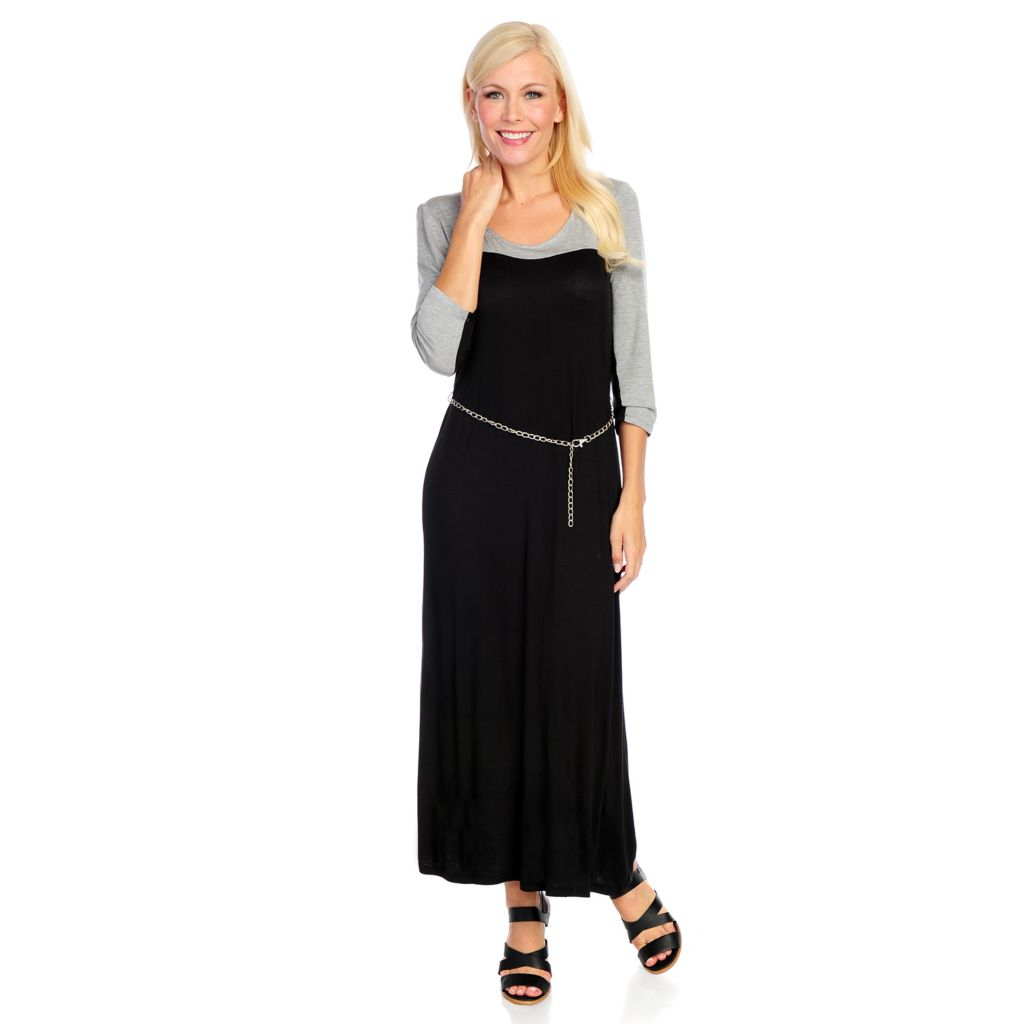 718-537 - aDRESSing WOMAN Stretch Knit 3/4 Sleeved Color Block Maxi Dress w/ Belt
