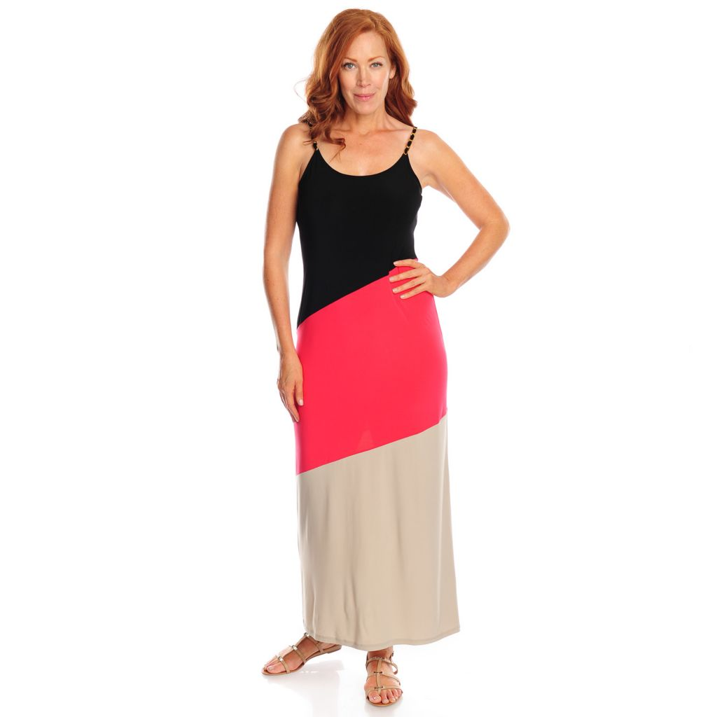 718-540 - aDRESSing WOMAN Stretch Knit Chain Strap Color Block Maxi Dress