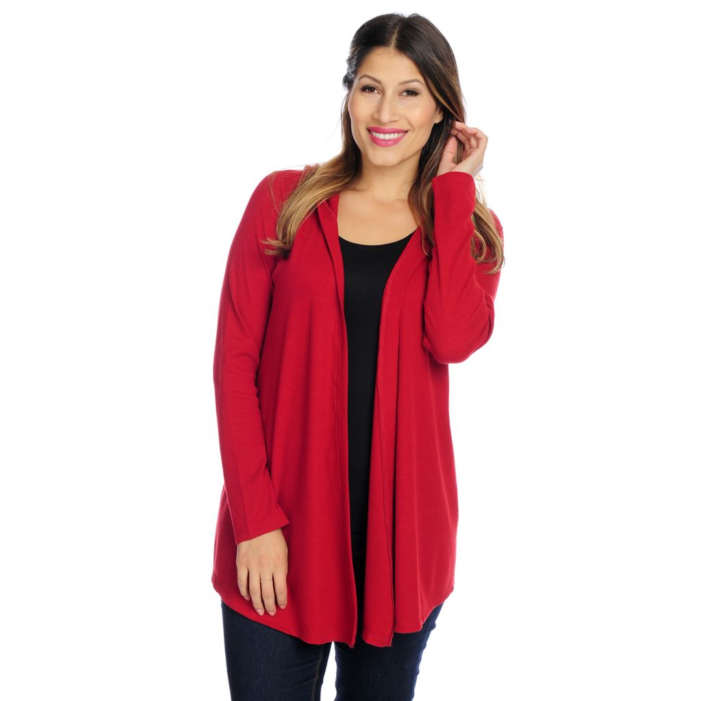 718-543 - OSO Casuals Thermal Knit Long Sleeved Hooded Open Cardigan