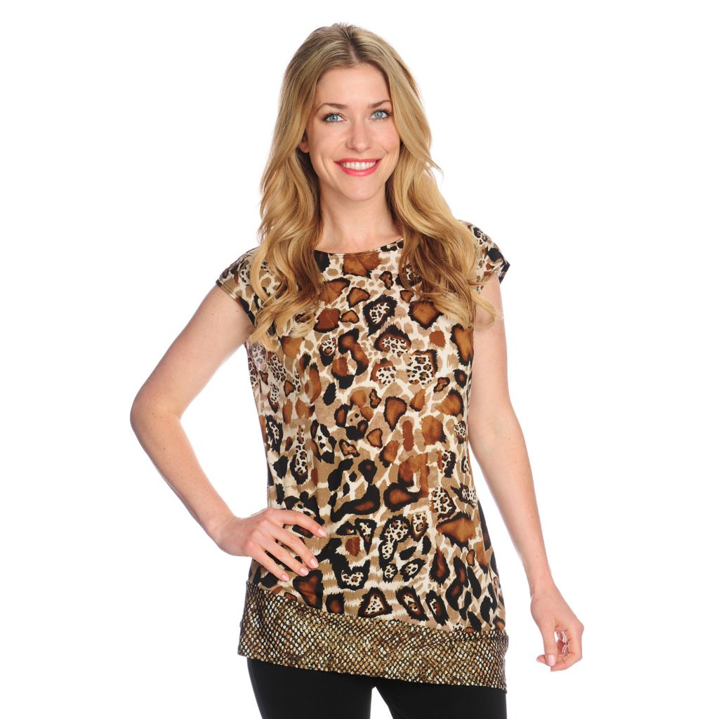 718-544 - Kate & Mallory Printed Knit Cap Sleeved Contrast Hem Asymmetrical Top