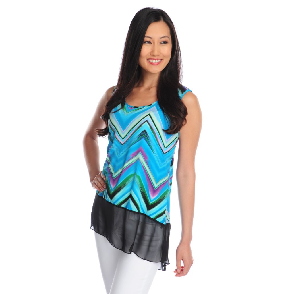 718-545 - Kate & Mallory Printed Knit Sleeveless Scoop Neck Chiffon Hem Top
