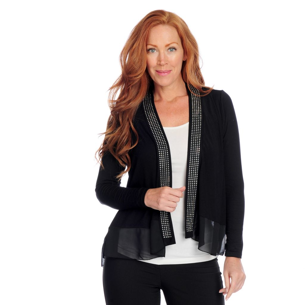 718-551 - Glitterscape Stretch Knit Long Sleeved Chiffon Trim Studded Cardigan