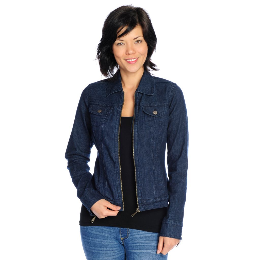718-560 - OSO Casuals Stretch Denim Long Sleeved Zip Front Jacket