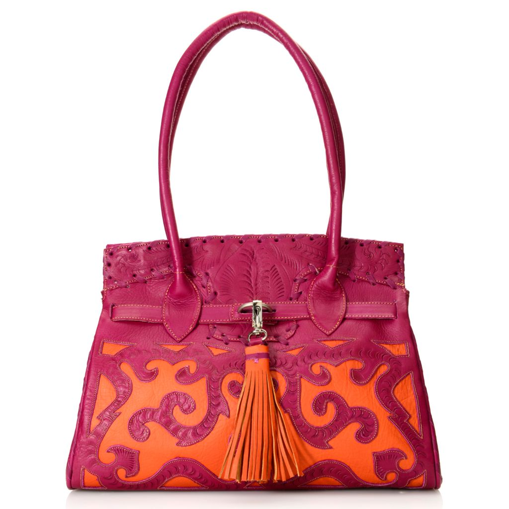 718-563 - Labrado™ Leather Hand-Tooled Double Handle Cut-out Design Belted Tote Bag