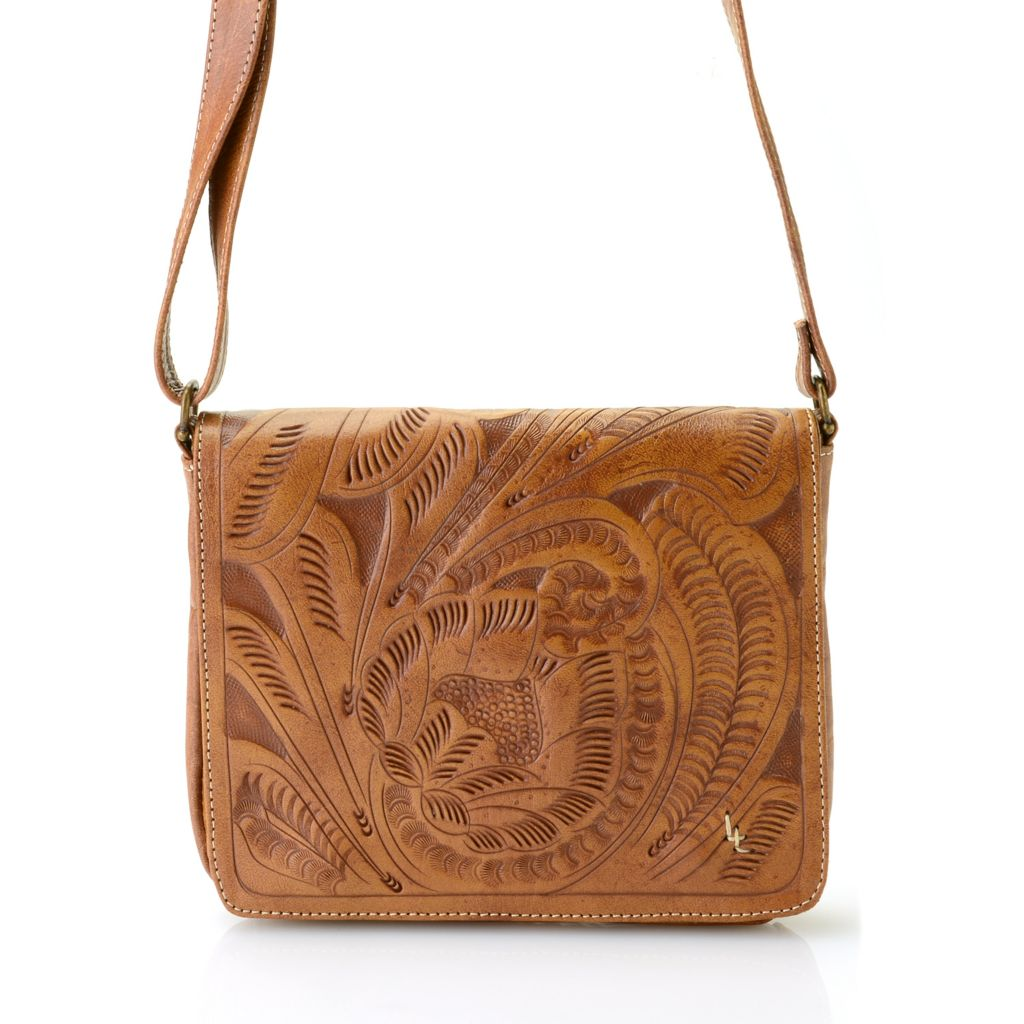 718-564 - Labrado™ Leather Hand-Tooled Flap-over Cross Body Bag