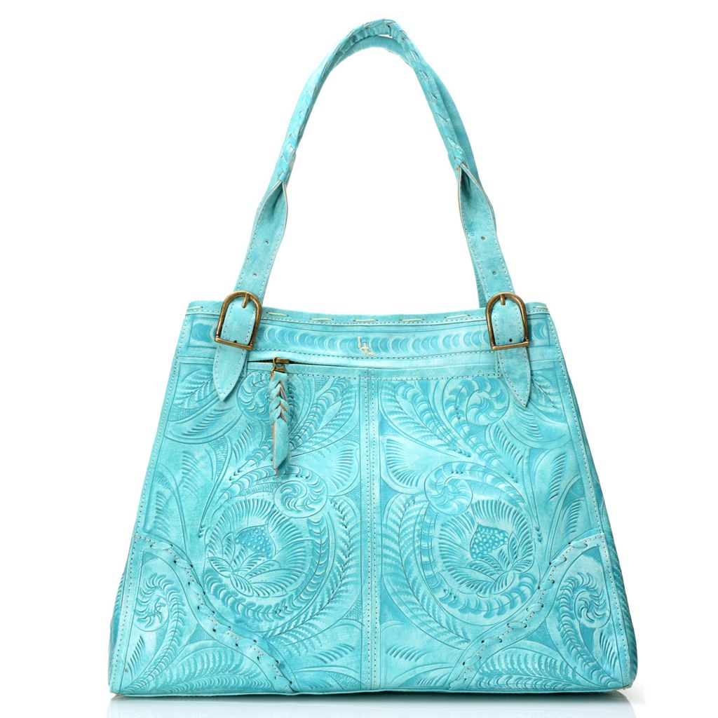 718-565 - Labrado™ Leather Hand-Tooled Double Handle Two-Way Shopper Handbag