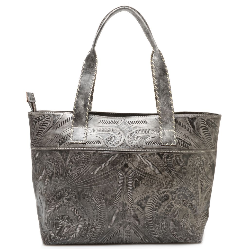 718-566 - Labrado™ Leather Hand-Tooled Double Handle Large Zip Top Tote Bag