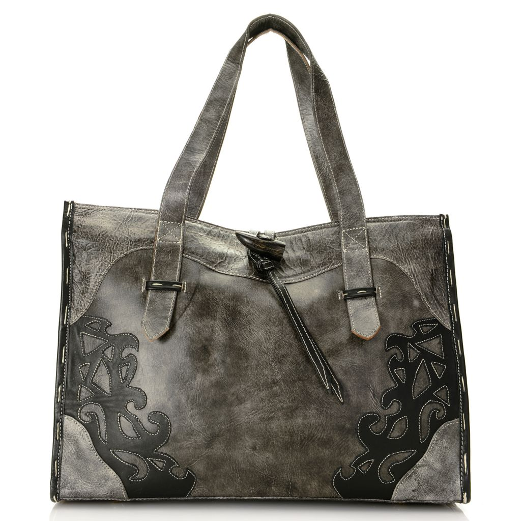 718-571 - Labrado™ Leather Double Handle Distressed Cut-out Design Shopper Handbag