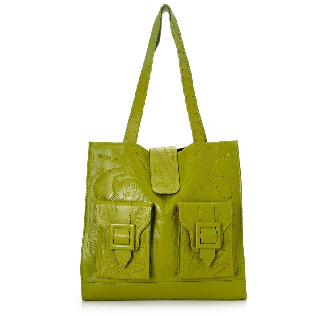 718-572 - Labrado™ Leather Hand-Tooled Leather Double Front Pocket Tote Bag