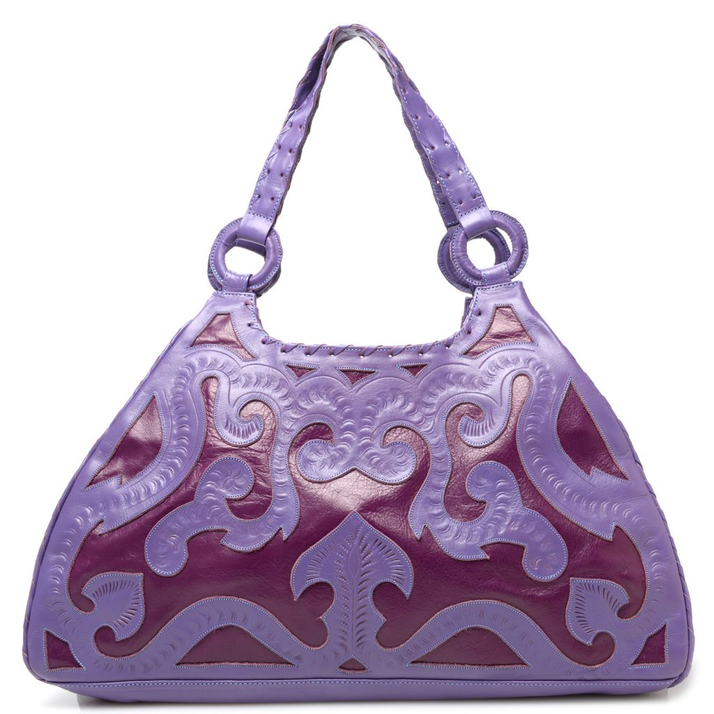 718-574 - Labrado™ Leather Hand-Tooled Cut-out Design Hobo Handbag