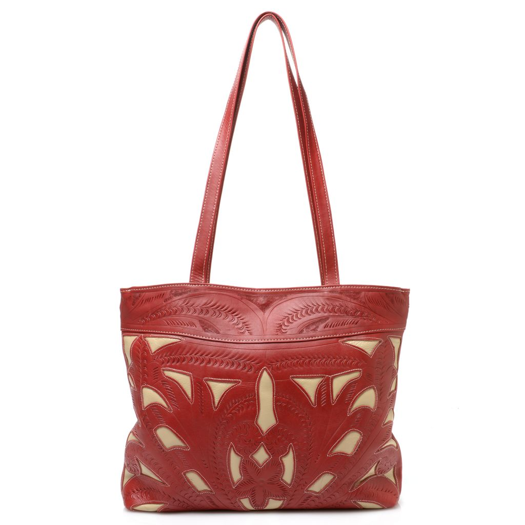 718-575 - Labrado™ Leather Hand-Tooled Double Handle Cut-out Design Tote Bag