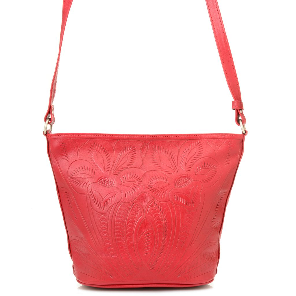 718-577 - Labrado™ Leather Hand-Tooled Zip Top Cross Body Bucket Bag