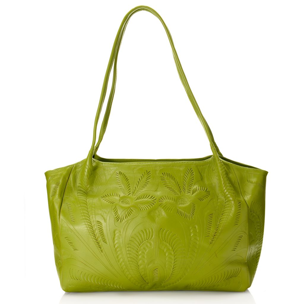 718-578 - Labrado™ Leather Hand-Tooled Double Handle Zip Top East-West Tote Bag