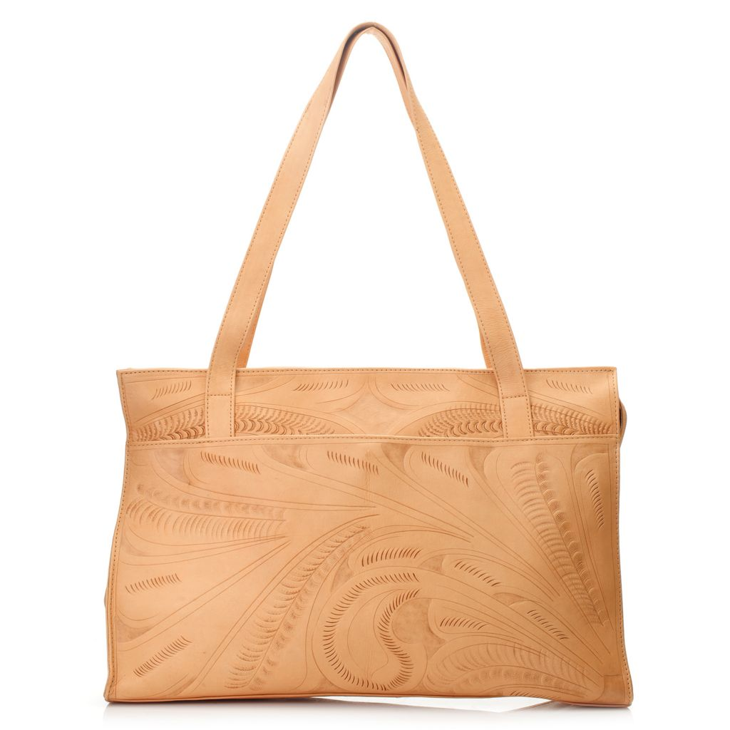 718-579 - Labrado™ Leather Hand-Tooled Double Handle Zip Top East-West Tote Bag